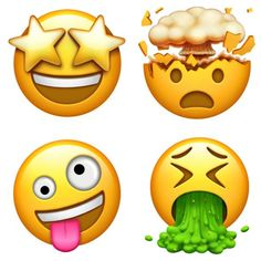 Illustration of four smiley emojis: one with starry eyes, one with an exploding head, one vomiting, and one with rolling eyes and a lolling tongue. Smiley Iphone, Get Emoji, Emoji Drawings, World Emoji Day, Emoji Stickers, New Ios, Ios 11, Emoji Wallpaper, Bowser