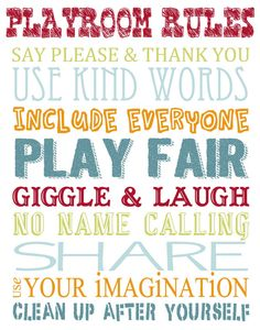 Printable Playroom Rules Wall Art by SimplyAnnouncing
