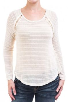 Type 3 Delicate Edge Sweater - Edge and elegance come through together in this light weight sweater top. Featuring an open weave panel along the raglan sleeves seams and down the back. Sheer.