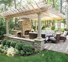 Outdoor living: pergola covered patio with fireplace. - Outdoor living: pergola covered patio with fireplace. Casa Patio, Backyard Patio, Backyard Landscaping, Backyard Ideas, Patio Ideas, Backyard Fireplace, Landscaping Design, Fireplace Ideas, Backyard Privacy