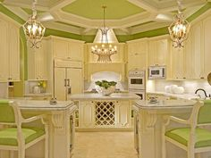 I prefer more modern kitchens but the ceiling in this one is fantastic! Love the idea of adding chandeliers too. And who doesn't like lime green?