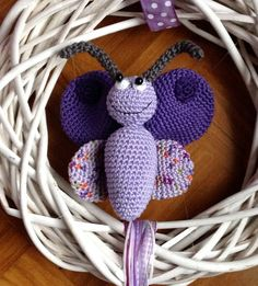 crochet butterfly wreath