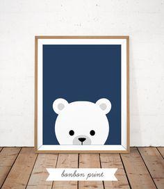 Navy Kids Room Print Bear Baby Art Navy Blue Nursery Poster