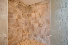 Huge curbless walk-in shower in the master bath. Designed and built by Quail Homes of Vancouver Washington.