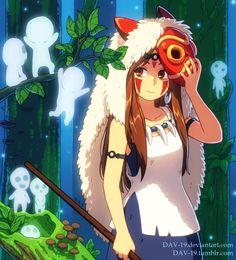 "San (with long hair 😊) and kodamas from ""Mononoke Hime"" by Hayao Miyazaki, Chibi, Manga, Studio Ghibli Movies, Film D'animation, Fantasy Films, Kawaii, Fantasy Illustration, Illustrations"