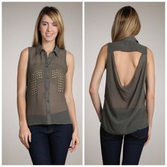 Cross embellished chiffon top with open back  Color: olive    On Sale Today ONLY 12/4/12  Orig. Price $29  Sale Price $20