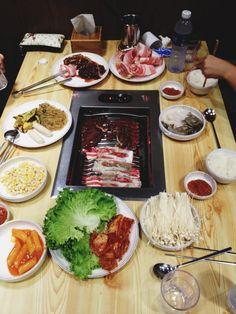 Korean BBQ-beef, pork, mushrooms, rice, lettuce, bean paste, ginger sauce. yum