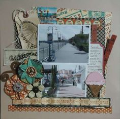 I used The boardwalk by Graphic I altered the Maya Road ice cream cone chipboard by inking grids on the bottom of the cone and embossing the top and adding paint & stickles. I hand made the flowers. Chipboard, Graphic 45, Scrapbook Layouts, Maya, Gallery Wall, Ice Cream, Swimming, Ink, Vacation