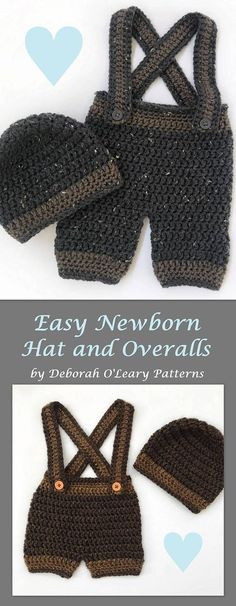 Crochet Baby Beanie and Overall Pattern - Pants - Shorts - Overalls - Beanie  by Deborah O'Leary Patterns #crochet #overalls #baby #newborn #patterns ##deboraholearypatterns #easy