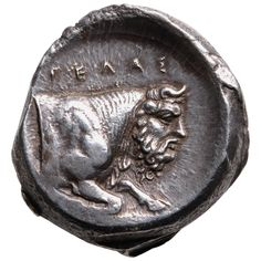Ancient Greek Silver Tetradrachm Coin from Gela Sicily, 420 BC   From a unique collection of antique and modern curiosities at https://www.1stdibs.com/furniture/more-furniture-collectibles/curiosities/