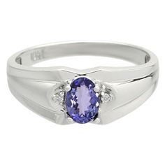 Men's White Gold Diamond Oval Cut Tanzanite Stone Ring Available Exclusively at Gemologica.com