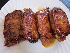 Glazed Pork Chops 4 thick cut pork chops (bone-in or boneless) ¼ cup brown sugar ½ tsp cayenne powder ½ tsp garlic powder ½ tsp paprika ½ tsp salt ½ tsp black pepper