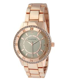 Loving this Rose Gold & Gray Embellished Round Bracelet Watch on #zulily! #zulilyfinds