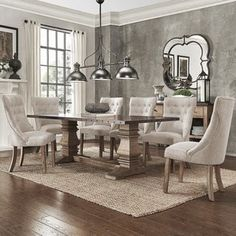 Janelle Extended Rustic Zinc Dining Set - Sloped Arm Chairs by iNSPIRE Q Artisan | Overstock.com Shopping - The Best Deals on Dining Sets