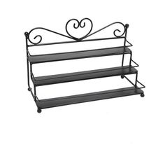 Metal Organizer Nail Polish Rack 3 Tier Table Top Display Storage Small Bottles Black Store your bottles of nail polish and makeup in style with this amazing Metal Organizer Nail Polish Display Rack! The lovely scrollwork design and classic painted finish on this sturdy metal storage rack helps bring both eye-catching style and sensible storage to your home or salon, and the 3 tiers (each with a metal railing) allow you to store your nail polish and makeup while also keeping them…
