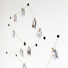 Create a night sky on your wall with this easy tutorial. Use only string + cardboard to create somewhere to hang your instax photos