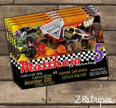 Monster Jam Themed - Monster Truck - Birthday Party Invitation