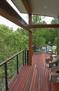 Deck railing isn't just a safety and security attribute. It can add a sensational visual to frame a decked location or patio. These 36 deck railing ideas reveal you exactly how it's done! Wood Deck Railing, Balcony Railing Design, Balcony Deck, Balcony Garden, Cable Railing Systems, Patio Deck Designs, Casas Containers, House Deck, Backyard Lighting