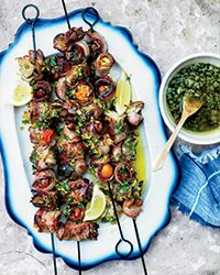 Bacon-Wrapped Vegetable Skewers with Dill Pickle Relish