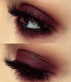 Burgundy Red Smokey Eye Makeup