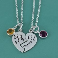 Big Sis/ Lil Sis Heart Hand Stamped Necklace $ 75.00...So can we get these and have Big sis, Med sis, and Lil sis???