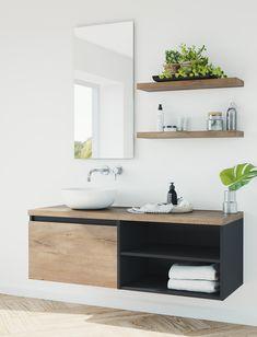 Model: Original | Width: 140 cm | Color: A88 Mat Black and M71 Nebraska Oak | Type: A | Modern, custom made bathroom vanity with mirror and shelves.