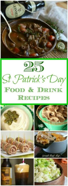 25 St Patrick's Day recipes including appetizers, main dish, side dish, and drink recipes. Check back in a few days for a collection of St Patrick's Day dessert recipes. Sant Patrick, Irish Dinner, St Food, Detox Kur, St Patricks Day Food, Irish Recipes, Scottish Recipes, Lemon Recipes, Holiday Recipes