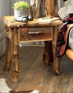 Rustic Log End Table