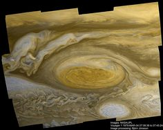 a recently completed digital Enhancement of an image of Jupiter's Great Red Spot taken in 1979 by the Voyager 1 spacecraft.