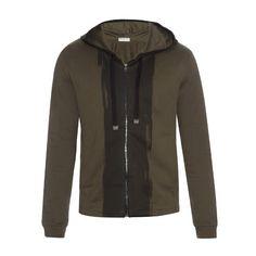 Balenciaga Paint-brush print zip-up sweatshirt ($439) ❤ liked on Polyvore featuring men's fashion, men's clothing, men's hoodies, men's sweatshirts, khaki and mens zip up sweatshirts