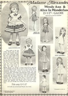 "MDME ALEXANDER ~ WENDY ANN 13 1/2"" DOLL CLOTHES PATTERN"