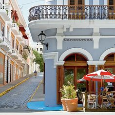Old San Juan, Puerto Rico  The 500-year-old cobblestone streets of Old San Juan are chockablock with colorful examples of Spanish Colonial architecture—from the trademark tile roofs and ornate balconies to the heavy wooden doors guarding secret courtyards