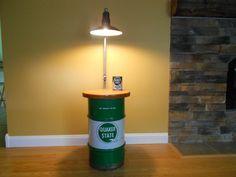 Vintage upcycled mancave Quaker State Oil drum, porcelain gas station light shade, floor lamp