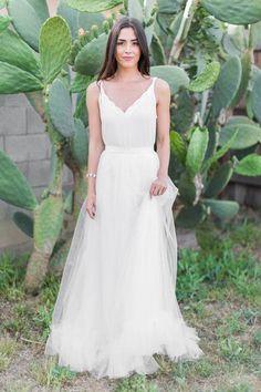 "The Leah White Ruffle Maxi Tulle Skirt - Ivory 44"" Length"