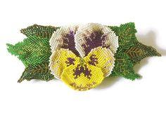 Hand Beaded Pansy Flower Hair Clip With Beaded by BeadifulByJill