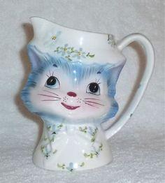 Vintage Lefton Miss Priss Kitty Cat Pitcher Jug Milk Water