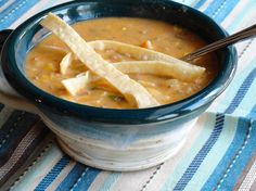 This is a good creamy soup has just the right amount of heat in it. The spices and peppers are just right. This would be a great dinner alongside a lovely salad.