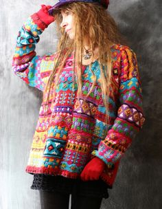 Vintage Dress Sweater 1980s Funky Colorful Cute Embroidered Patchwork Knit Oversized Winter Sweater