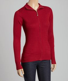 Look at this #zulilyfind! Garnet Cable-Knit Zip-Up Sweater by Allie & Rob #zulilyfinds