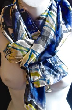 Luminosity Blue Designs SILK SCARF. Hand by SilkScarvesJoanReese
