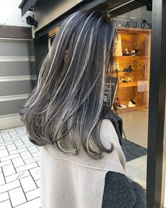 Ash Blonde Highlights On Dark Hair, Ash Grey Hair, Grey Hair Don't Care, Summer Brown Hair, Pelo Color Plata, Icy Hair, Wedding Hair Up, Transition To Gray Hair, Hair Color For Black Hair
