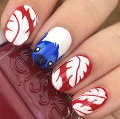My favorite manicure of mine from 2016, my Lilo and Stitch nail design I wore to Disney World! #liloandstitch #nails #nailart #naildesign #disney