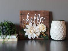 Rustic flower reclaimed wood wall art