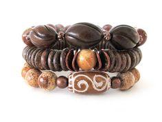 Burnt Horn and Agate Women's Bracelet Stack - Women's Jewelry -  Gemstone…