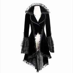 iHAZA Vintage Lace Jacket Women Praty Coat Goth Steampunk Uniform Costume Outwear