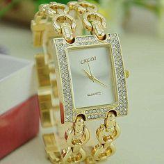 NEW Women Metal Bracelet Watch Caldi Double Gold Link Wristwatch Reloj Para Dama Quartz Watches Woman Watch