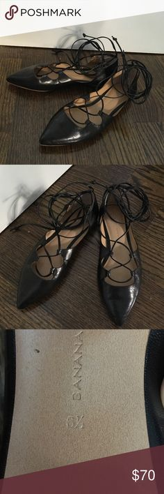 Selling this Lace-up Black Flats on Poshmark! My username is: jessielitwin. #shopmycloset #poshmark #fashion #shopping #style #forsale #Banana Republic #Shoes