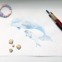 Whale, beluga, кит, белуха, watercolor, акварель Sea Whale, Whale Art, Fine Art Drawing, Painting & Drawing, Colorful Drawings, My Drawings, Whale Drawing, Watercolor Paintings Of Animals, Softies