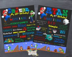 Super Mario Favorite Things Poster by NaVellaPartyBoutique on Etsy,