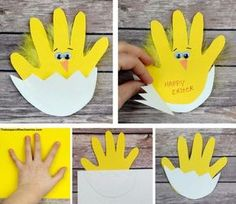 Easter chick handprint card Materials: Yellow and White construction paper or card stock Scissors Wiggle eyes Orange construction paper Glue stick and craft glue Yellow feathers Black pen or… Easter Arts And Crafts, Spring Crafts For Kids, Bunny Crafts, Easter Crafts For Kids, Crafts To Do, Preschool Crafts, Children Crafts, Easter Crafts For Preschoolers, Summer Crafts